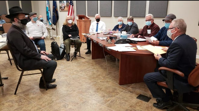 During a conditional use hearing in Lackawaxen Township March 11, Shloime Rutman with engineer Gene Ruzanski presented plans for the replacement of abathhouse at King Soldiers camp onMasthopePlank Road.
