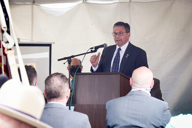 Herkimer County Legislature Chairman Vincent Bono speaks during the grand opening for the new Herkimer County Correctional Facility on Wednesday, April 7, 2021.