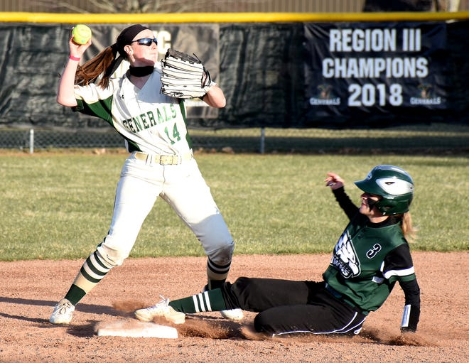 Herkimer College second baseman Melissa Daigneault tries to turn a double play with Mohawk Valley Community College's Chloe Weller sliding in during the third inning of Tuesday's second game.
