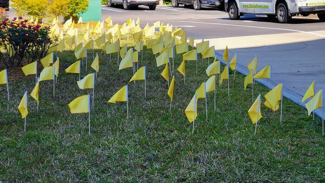 """Yellow Flags of Hope dot the lawn at Memorial Hospital Jacksonville in memory of the first year of the COVID-19 pandemic and the work with hundreds of its patients and their families. Sunday the Jacksonville COVID Taskforce is sponsoring """"A Day of Remembrance, Hope and Unity""""at Small Park."""