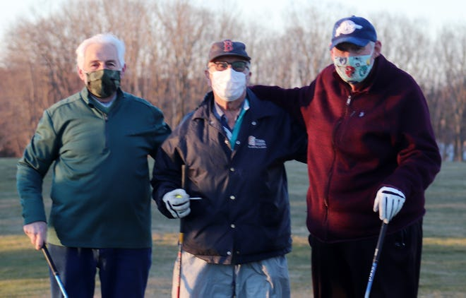 Friends George Fiori, Gerry Arsenault and Art Bartlett were the first group to play Gardner Municipal, Tuesday morning, when the golf course opened for its 86th season.