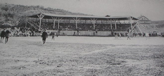 This is one of the only known photos of the Wilder Field grandstand.