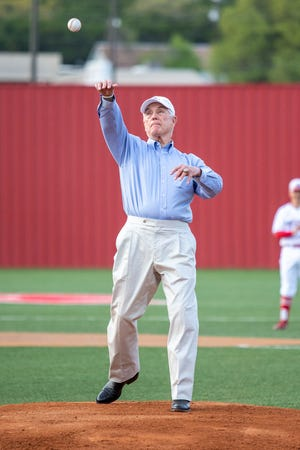 U.S. Congressman Roger Williams, who represents the 25th congressional district of Texas that stretches from Tarrant County in the north to Hays County in the south and includes much of the Texas Hill Country and Austin, threw out the first pitch Tuesday night in Glen Rose prior to the District 6-4A contest between the Stephenville Yellowjackets and Glen Rose Tigers. The Yellowjackets picked up the 12-5 victory to improve to 4-1 in district play.
