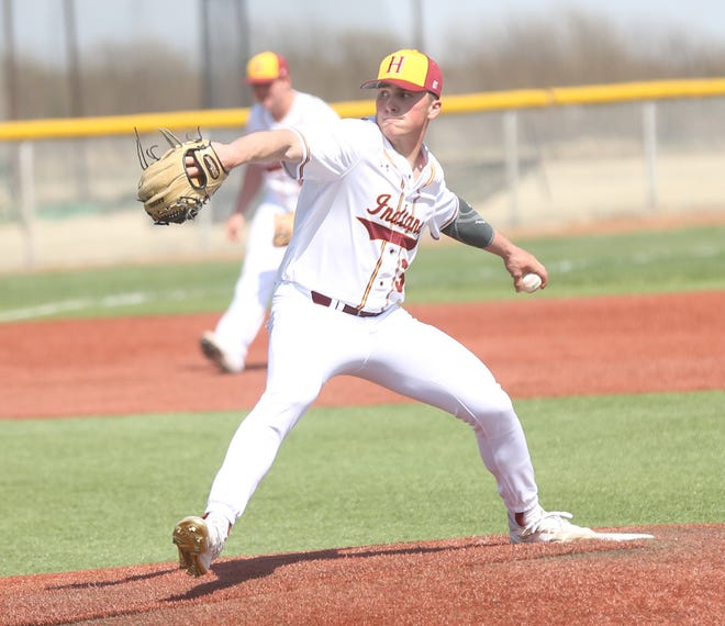 Hays High's Dylan Dreiling brings a pitch to the plate against Washburn Rural last week. Dreiling struck out 18 hitters and allowed just one hit in Tuesday's 3-0 win at Great Bend.