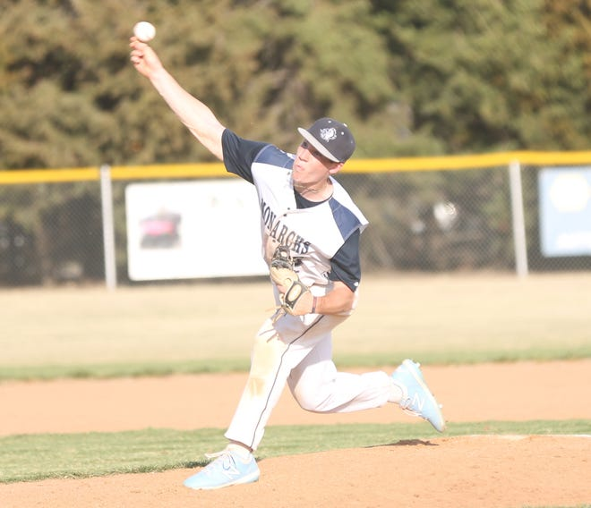 TMP's Jace Wentling brings a pitch to the plate on Tuesday against Colby.