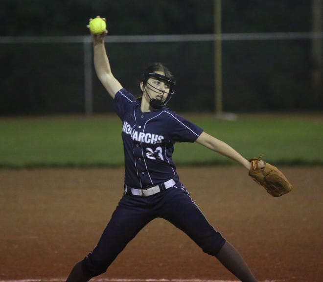 TMP's Kyleigh Allen brings a pitch to the plate late in Tuesday's doubleheader against Colby.