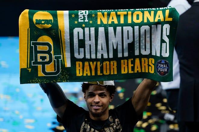 Baylor guard MaCio Teague celebrates after the Bears won the program's first national title.