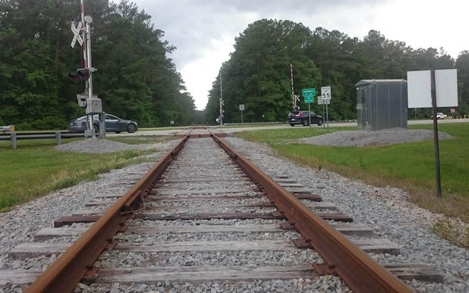 The Camp Lejeune Railroad enters the base after crossing N.C. 24 near the Piney Green Shopping Center in Jacksonville.