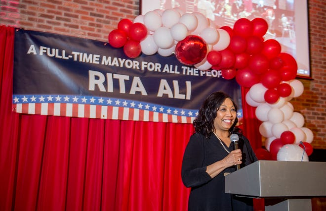 Peoria mayoral candidate Rita Ali speaks to the crowd at her election party Tuesday, April 6, 2021 at the Warehouse on State. Ali encouraged the crowd to keep the faith as she fell behind to opponent Jim Montelongo because several hundred mail-in ballots were still left to be counted.