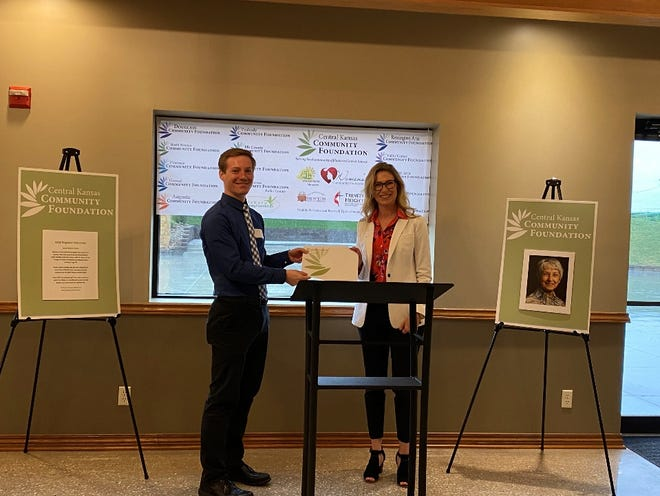 Benjamin Meier, Mirror, Inc., and Jennifer Vogts, CKCF Board Chair Harvey and Marion Counties