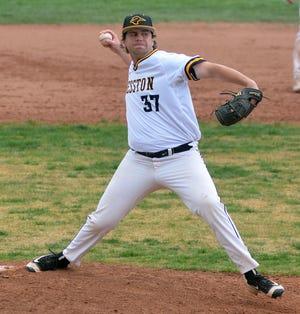 Hesston pitcher Josh Wilson, a freshman from Canterbury, New Zealand, throws against Northern Oklahoma-Enid.