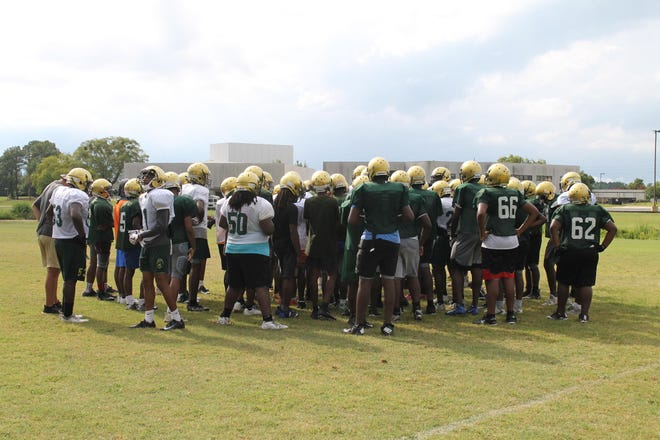 The Kinston High football team, pictured here ahead of the 2019 fall season, has not given up a point through five games of the spring 2021 season while averaging 37.4 points per game itself.