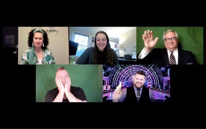 """The cast for one of the shows – """"Musical Theatre Geeks!"""" – had a virtual rehearsal. Pictured, from left: top, Lisa Georges, director Ellie Kelly and Steve Ingrassia; and bottom, Eric Oswald and Brad Hills."""