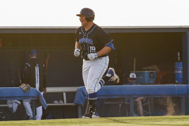 Estacado's Diego Comacho (19) flexes after hitting a home run during the baseball game against Levelland on Tuesday April 6, 2021 at Estacado High School in Lubbock, Texas.