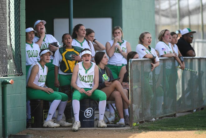 The Idalou bench watches a District 2-3A game against Childress on Tuesday in Idalou.