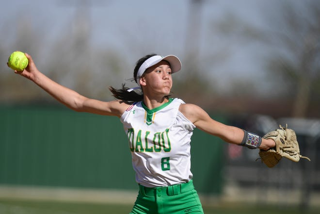 Idalou's Belle Arguello (8) pitches during a softball game against Childress on April 6 in Idalou.