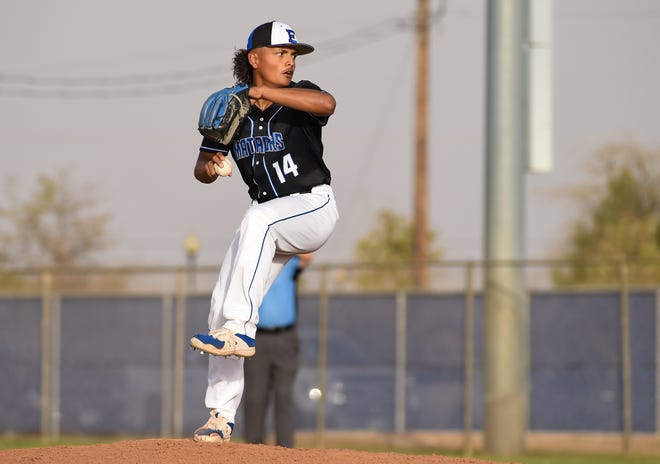 Estacado's Ben Gonzales (14) throws a pitch during the baseball game against Levelland on Tuesday April 6, 2021 at Estacado High School in Lubbock, Texas.