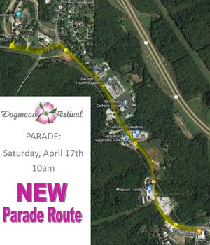 A tracing of the new Dogwood Festival parade route.