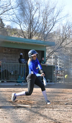 Mount Shasta High School sophomore Morgan Bourke made good contact with the ball last week, hitting her first bomb over the fence. It was also a grand slam.