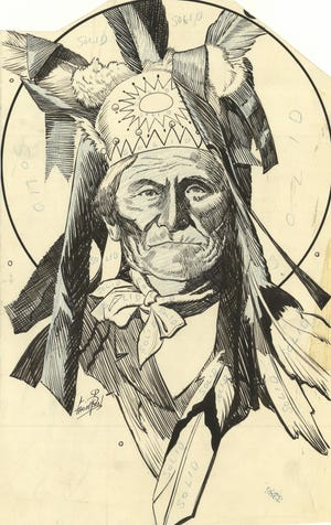 Geronimo is depicted in this graphic that was drawn by one of The Daily Oklahoman's artists in the mid-1930s. Art director L.P. Thompson had sketched the famous Chiricahua Apache leader for a story that was published April 8, 1934, in The Daily Oklahoman's Sunday Features section. Geronimo, who was imprisoned at Fort Sill, died on Feb. 17, 1909, and is buried there. Thompson is just one of many artists who have contributed their talents to illustrate news stories and create glamorous advertisements throughout the years.