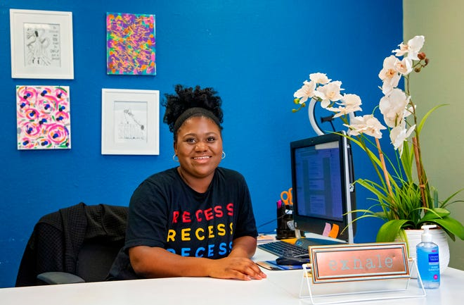 Recess OKC owner Paige Mitchell is photographed in her office in November. The business allows entrepreneurs and other professionals to rent an office by hour or month while they also take advantage of the babysitting service for their children for a few hours.