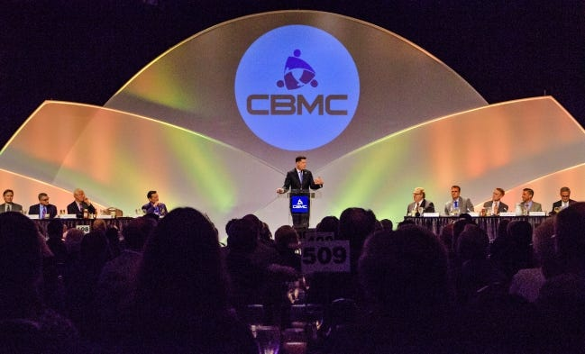 Oklahoma City Mayor David Holt speaks at the 2019 CBMC Metro Prayer Breakfast at the Cox Convention Center.