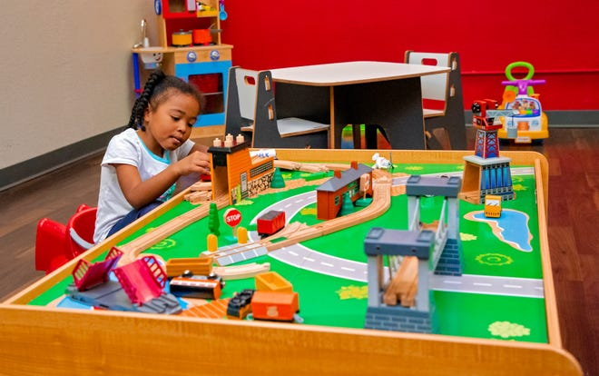 Autumn, 5, enjoys playing in the nursery at Recess OKC, located at 9 NE 9th in Oklahoma City.