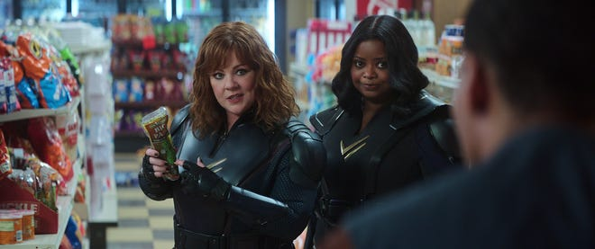 """Melissa McCarthy stars as a super-strong hero and Octavia Spencer is a woman who can turn invisible in the Netflix comedy """"Thunder Force."""""""