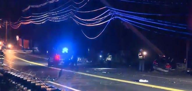 A car slammed into a pole in Milton