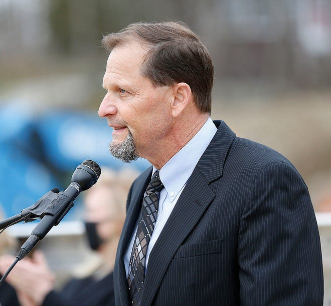 Mayor Robert Hedlund talks about the $164 million new Chapman Middle School project on Wednesday April 7, 2021 Greg Derr/The Patriot Ledger