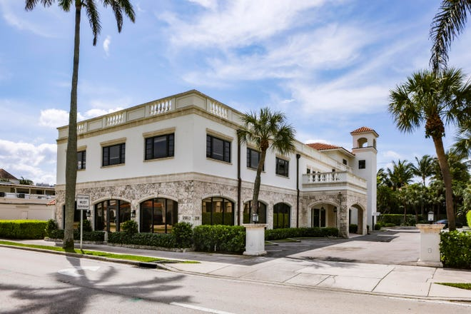 A Class A office building at 218 Royal Palm Way has sold for a recorded $8.5 million on the street known to locals as Bankers Row.