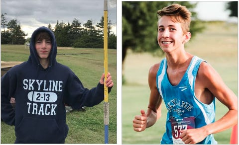Competing for Skyline High School in track and field this spring, Issac Allphin (left) and Keegan Davidson (right) could be potential point-getters for the Thunderbirds as the season unfolds.