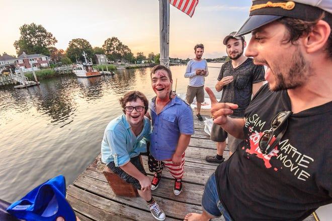 """From left, Sam Suchmann, Mattie Zufelt, James McFayden, Alan Kudan and Bobby Carnevale in """"Sam & Mattie Make a Zombie Movie,"""" a behind-the-scenes look at the 2016 Rhode Island-made film """"Spring Break Zombie Massacre."""""""