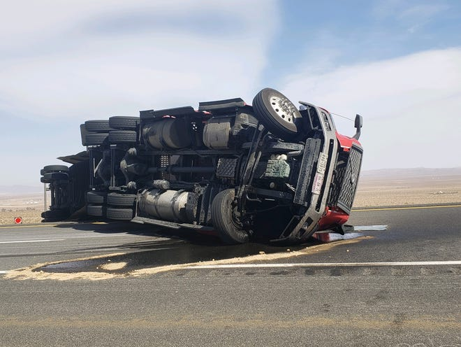 High winds flipped an unloaded tractor-trailer on southbound Highway 14 just south of the intersection with Highway 178 East on April 5, 2021.