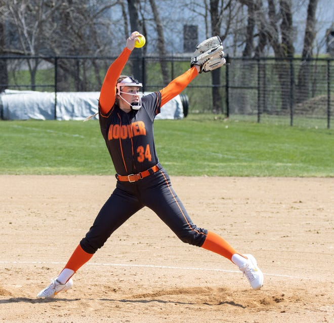 Hoover's Sydnee Koosh throws a shutout defeating Hillsdale 8-0 on Saturday, April 3, 2021.(Special to The Canton Repository / Bob Rossiter)