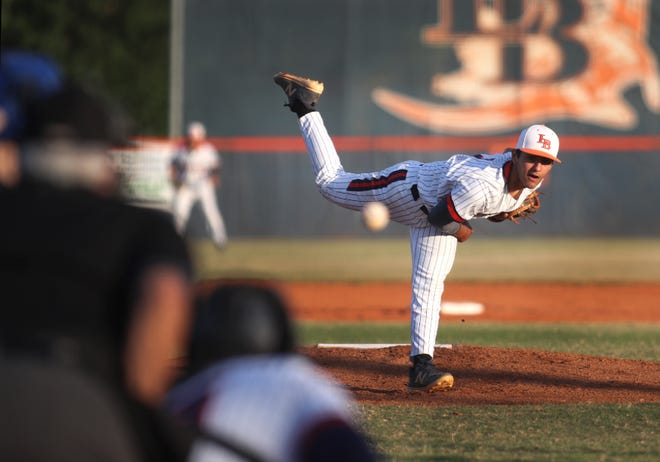 Lemon Bay starting pitcher Abel Albarran (3) delivers a pitch against the Charlotte Tarpons during a Tuesday night game at Lemon Bay High School in Englewood.