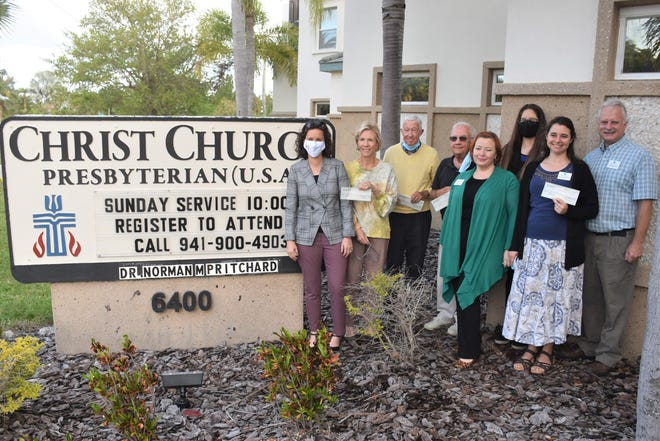From left, Erin Minor (Harvest House); Sally Rauch and Jerry Fox (Christ Church); Bob Eikill (Our Daily Bread); Kathleen Cramer and Margi Dawson (Turning Points); and Maxine Balsbaugh and Dave Balsbaugh (Hope Seeds).
