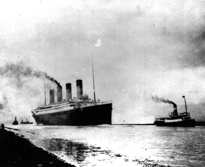 The Luxury liner Titanic departs Southampton, England, prior to her maiden Atlantic voyage on April 10, 1912.