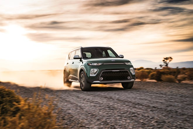 This photo from Kia shows the 2021 Soul, a subcompact crossover that is fun to drive and offers a spacious cargo area for the class. (Courtesy of Kia Motors America via AP)