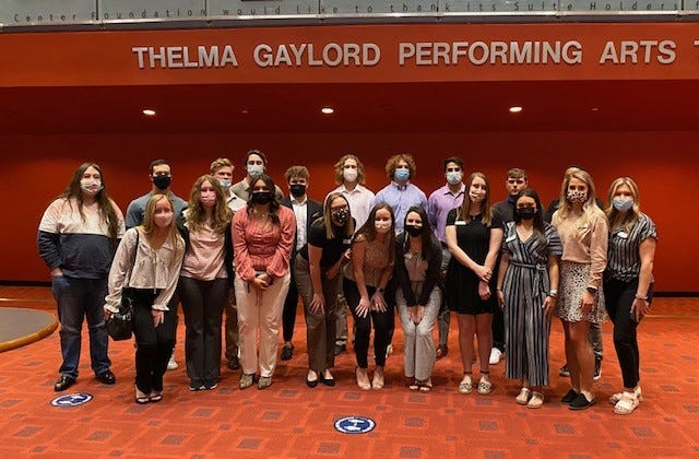 """Members of the Seminole State College President's Leadership Class attended the OKC Philharmonic Pops Series presentation of """"The Music of Queen"""" April 2 at the Civic Center Music Hall in Oklahoma City."""