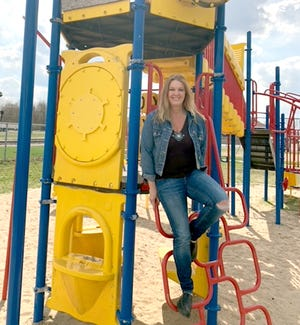 Shireen Cline of White Pigeon plans to go door-to-door throughout the village in hopes of raising $5,000 to fix a slide at Depot Park.