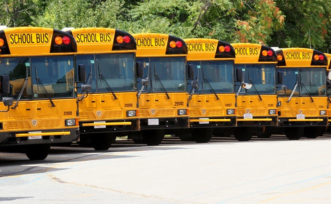 School buses lined up in Worcester. File photo.