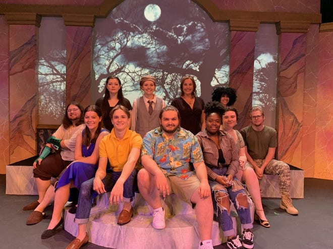 """The cast of """"ShakespeaRemixed"""" gathers on the set during a dress rehearsal on Tuesday, April 6."""