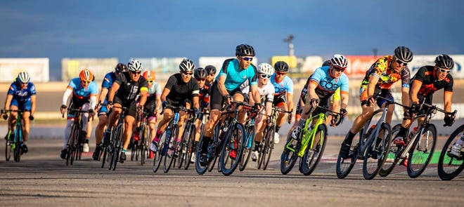 Professional, amatuer and collegiate cyclists will converge on Pueblo April 24-25 to complete in Classic Pueblo bicycle races such as the criterium, pictured here, where cyclists sprint at speeds up to 30 miles per hour as they make numerous laps around a course.