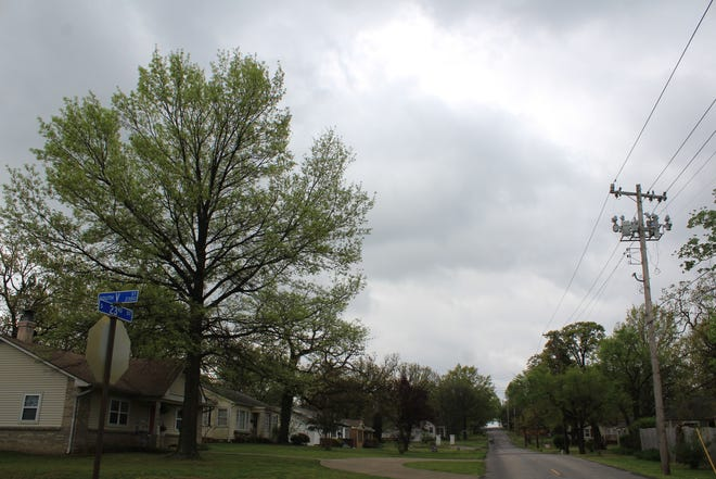 Storm clouds move into Fort Smith at the intersection of South V and 23rd streets on Wednesday, April 7, 2021. Much of Arkansas is under a tornado watch until 8 p.m. Wednesday.
