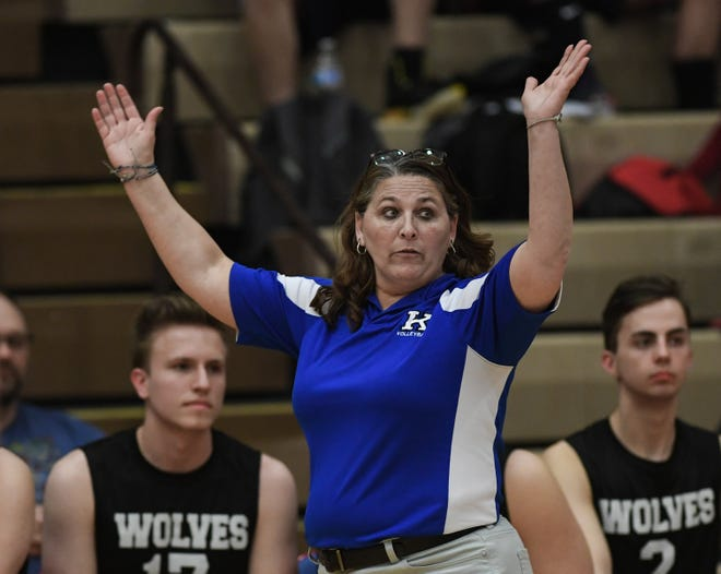 Kilbourne boys volleyball coach Meladee Hopkins is leading an inexperienced roster this spring. The Wolves returned only two players with at least a full year of varsity experience.