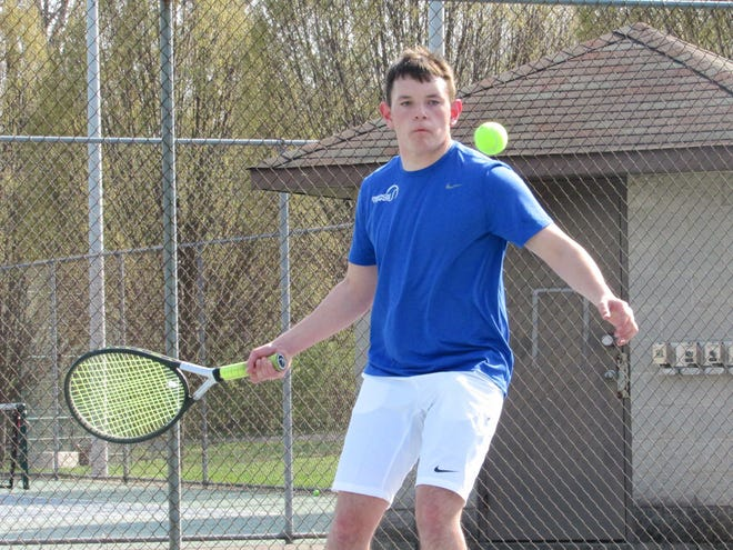 Ready junior Adam Bennett competes at first singles against Hartley on April 6 at Wolfe Park. He is one of three returnees from 2019, when the Silver Knights finished 4-11 overall and 1-3 in the CCL.