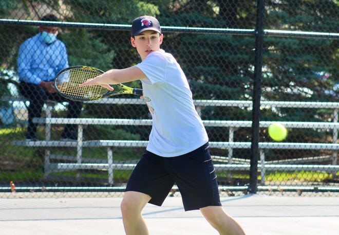 Freshman Samson Gurgiolo is playing first singles for the South boys tennis team. The Wildcats opened April 6 with a 5-0 loss at Dublin Scioto in an OCC-Capital match.