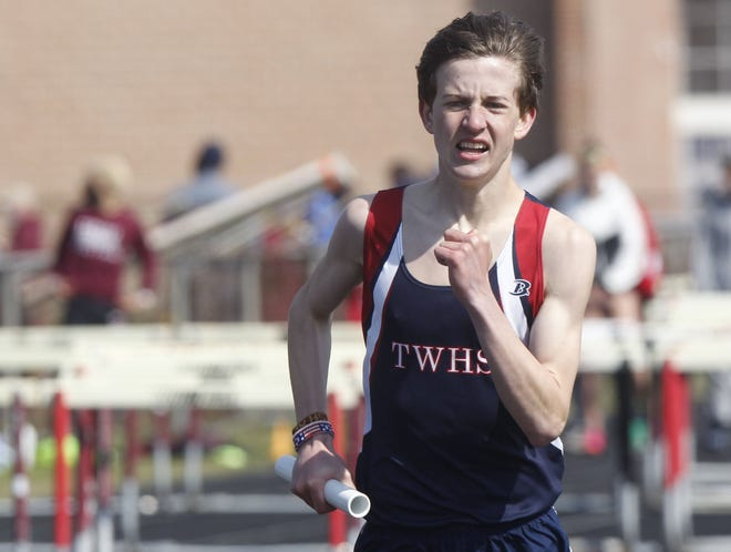 Thomas' Noah Silliman competes in the 3,200-meter relay during the Newark Invitational on April 3. The senior is expected to be one of the top distance runners for the Cardinals.