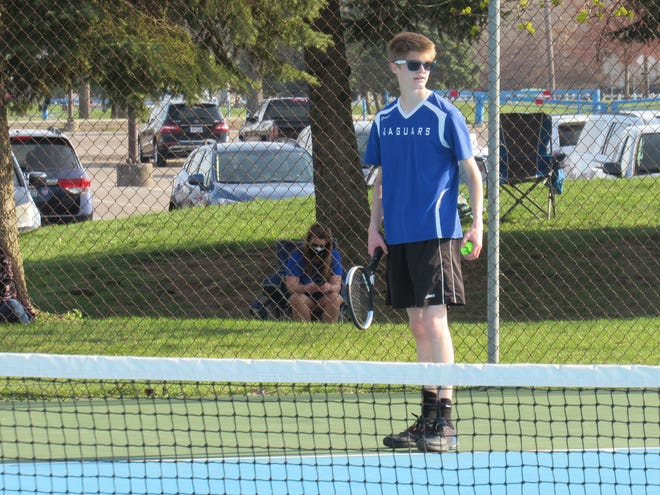 Bradley second-singles player Isaac Tawney prepares to serve during a match April 6 at Darby. Tawney won 4-6, 7-6, 6-2 as the Jaguars defeated the Panthers 4-1 in their season opener.